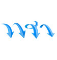 blue arrows set 3d web down icons vector image vector image