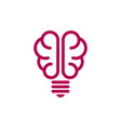 brain shaped bulb icon vector image vector image