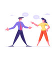 business woman and man arguing and having quarrel vector image