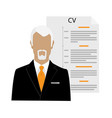 businessman man character with cv or resume vector image vector image