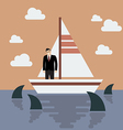 Businessman on small boat with shark in the sea vector image