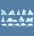 cartoon arctic ice icebergs blue floes and ice vector image