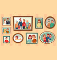 cartoon family photo frames happy people vector image vector image