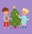 christmas kids character playing winter vector image vector image