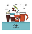 colorful poster of coffee shop with different vector image vector image