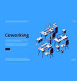 coworking space isometric landing page teamwork vector image vector image