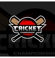 Cricket sports logo ball and bat vector image