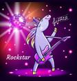 cute unicorn playing guitar vector image