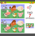 differences game with animal characters vector image vector image