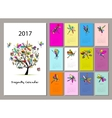 Dragonfly calendar 2017 design vector image vector image