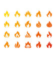 fire bonfire flame silhouette icon set vector image vector image