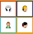 flat icon telemarketing set of operator earphone vector image vector image