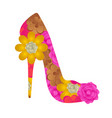 floral textured high heel shoe vector image