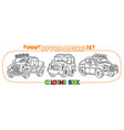 funny buggy car or outroader coloring book set vector image