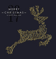 Gold Christmas and new year ornamental reindeer vector image vector image