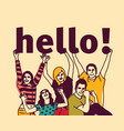 group young people and signs hello vector image