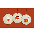 Hanging coffee flat icons badges