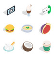 hearty breakfast icons set isometric style vector image vector image