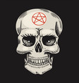 human skull with satanic symbols element magic vector image vector image