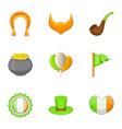 irish day icons set cartoon style vector image