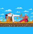 japanese karate pixel art 8 bit characters vector image vector image