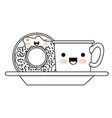 kawaii coffee cup and donut with cream glaze on vector image