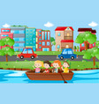 kids rowing boat in the river vector image vector image