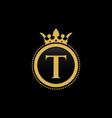 letter t royal crown luxury logo design vector image vector image
