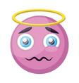 light pink angel emoji face on a white backgorund vector image vector image