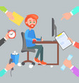 man work at computer and hands give him orders vector image vector image