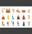 medieval cartoon characters and european middle vector image vector image