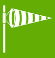 meteorology windsock inflated by wind icon green vector image vector image