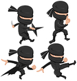 Ninja Cute Character Cartoon Set vector image vector image
