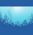 ocean underwater background with coral reef plants vector image vector image