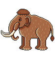 pixel cute mammoth detailed isolated vector image vector image