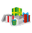 present gift box with ribbon bow style vector image vector image