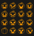 pumpkin icons set halloween decoration scary faces vector image vector image