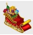 red sleigh santa claus with gifts and candies vector image vector image