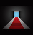red white stair door open top dark room 3d vector image