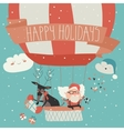 Santa Claus flying in a hot air balloon with vector image vector image