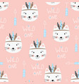 seamless pattern with cute indian cats vector image vector image