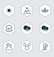 set of 9 harmony icons includes water drops vector image