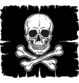 Skull and Crossbones over black flag vector image vector image
