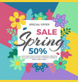 spring sale banner with flowers vector image vector image