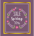 spring sale flowers wreath decoration diiscount vector image