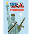 Statue of Liberty and automatic Military sculpture vector image vector image