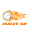 stopwatch in flame - hurry up banner limited time vector image vector image