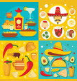 taco mexican food banner set flat style vector image