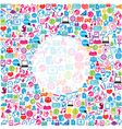 template design with social network icons vector image
