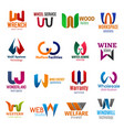 w letter corporate identity business icons vector image vector image